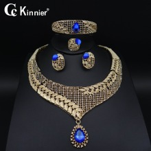 New Fashion Dubai wedding jewelry set Bridal African beads gold-color blue zircon Necklace women party Bangle Earring Ring 1030 new dubai african beads gold color wedding jewelry sets party gift fashion beautiful bridal necklace earring bridal bangle ring