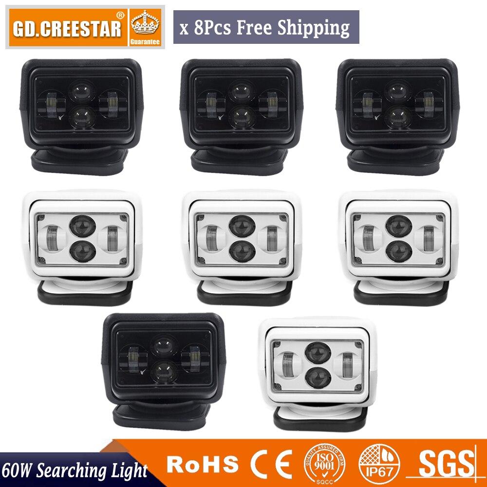 10-30V Remote control LED Searchlight 7inch 60W Spotlight LED Work Light TRUCK SUV BOAT MARINE driving lights 8pcs Free shipping