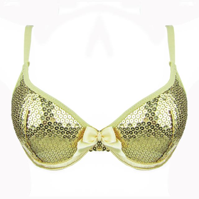Mulheres bra lantejoulas sutiã push up profundo mergulho sliver e ouro cores para venda