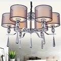 Neue Moderne Kristall kronleuchter Beleuchtung Stoffschirm Kronleuchter Lampe 6 Lichter Für Schlafzimmer Esszimmer Wohnzimmer DP088 6-in Kronleuchter aus Licht & Beleuchtung bei