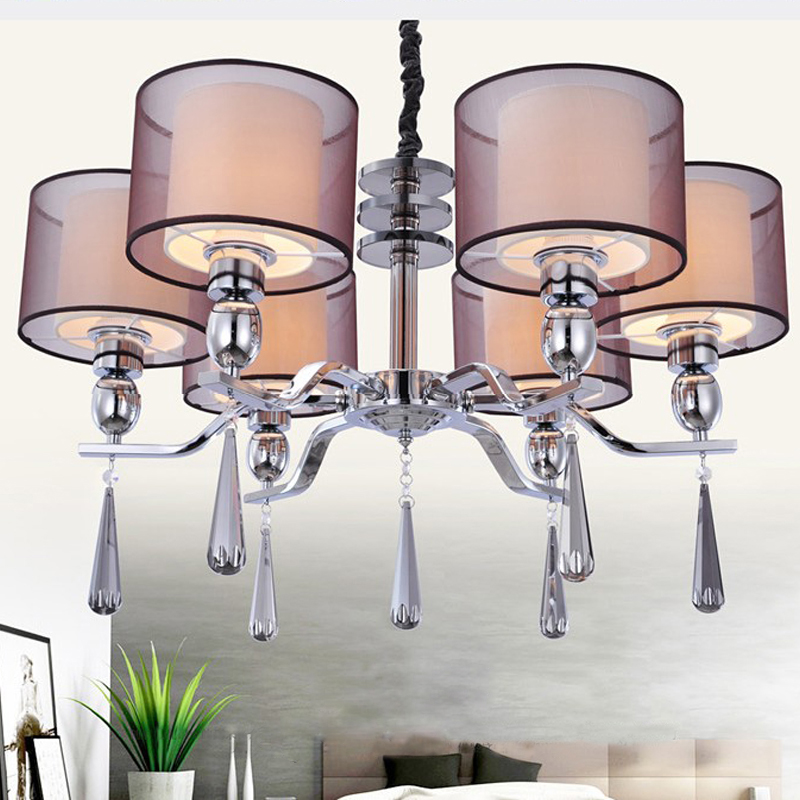 New Modern Crystal Chandelier Lighting Fabric Shade Chandeliers Lamp 6 Lights For Bedroom Dinning Room Living Dp088 In From