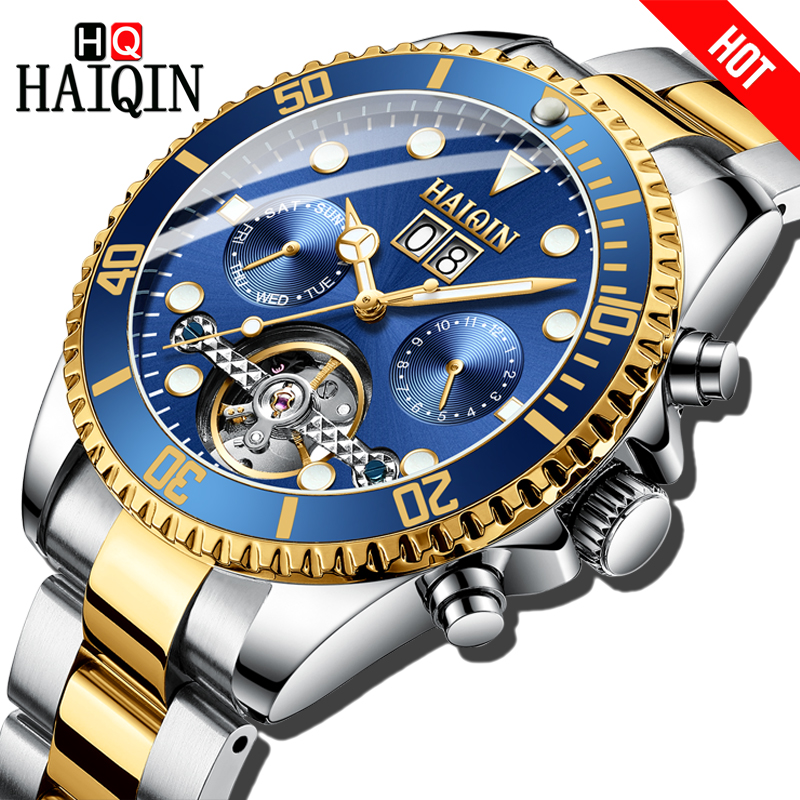 HAIQIN Automatic mechanical Men watches Business luxury Gift Watch Gold Full steel Waterproof Male Wristwatch Relogio