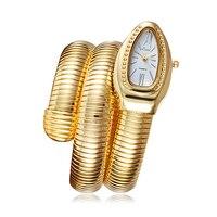 Змея браслет часы Для женщин браслет часы кварцевые часы Для женщин женские повседневные платья кварцевые наручные часы