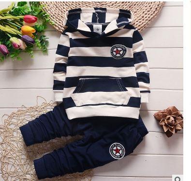 Children stripe two-piece outfit Hot spring type long fleece boy's coat The new cotton children's wear children's suit