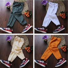 4 Color Cotton Linen Summer Spring Fall Breathable Pants Boys Girls Baby Toddler Kids Trousers Children 85-140cm