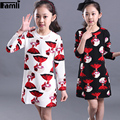 5Y-14Y Teenager Girls Dress 2016 Spring Autumn Children Girl Casual Long Sleeve Printed Dress Clothing Kids 6 7 9 11 12 14 Dress