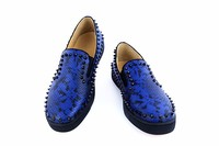 LTTL Mens Rivets Printing Snakeskin Loafers Breathable Slip On Spikes Men's Flat Shoes Fashion Handmade Man Casual Shoes Tide