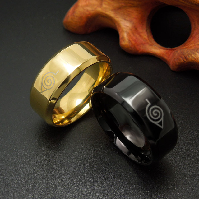 Naruto Stainless Steel Black Titanium Steel Ring