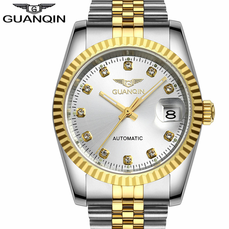 цена на 2017 GUANQIN Mechanical Watch Luxury Automatic Watch Men Top Brand Automatic Self-wind Watches Date Gold Waterproof Wristwatch