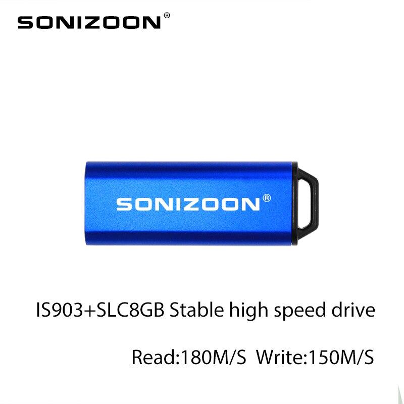 USB flash drive IS903 Mestre de unidade Estável de alta velocidade SLC 8 GB USB3.0 memoriaast Azul Empurrar e puxar USB Stich SONIZOON XEZUSB3.0