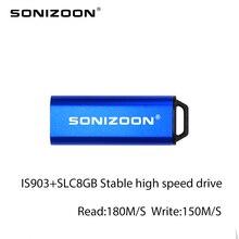 USB Flash Drive IS903 Master Of SLC 8GB USB3.0ไดรฟ์ที่มีเสถียรภาพความเร็วสูงMemoriaastสีฟ้าPushและดึงStich USB SONIZOON XEZUSB3.0