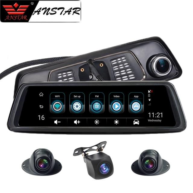 """Anstar 10"""" 4G Rearview Mirror Car DVR 2+32GB 4CH Cameras Android 5.1 Octa Core Video Recorder ADAS GPS Auto Registrar Dash Cam"""