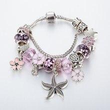 Annapaer pulseira banhada starfish, bracelete com pingente de cristal rosa, original, pulseiras e braceletes femininos, joia diy b16054