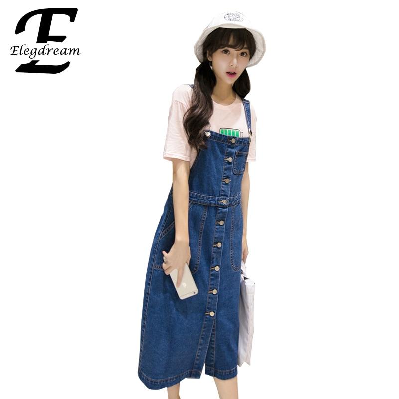 Botton Front Blue Jean Dresses For Lady Mid Calf Hippie Boho Denim Overalls Dame Kleding 2017