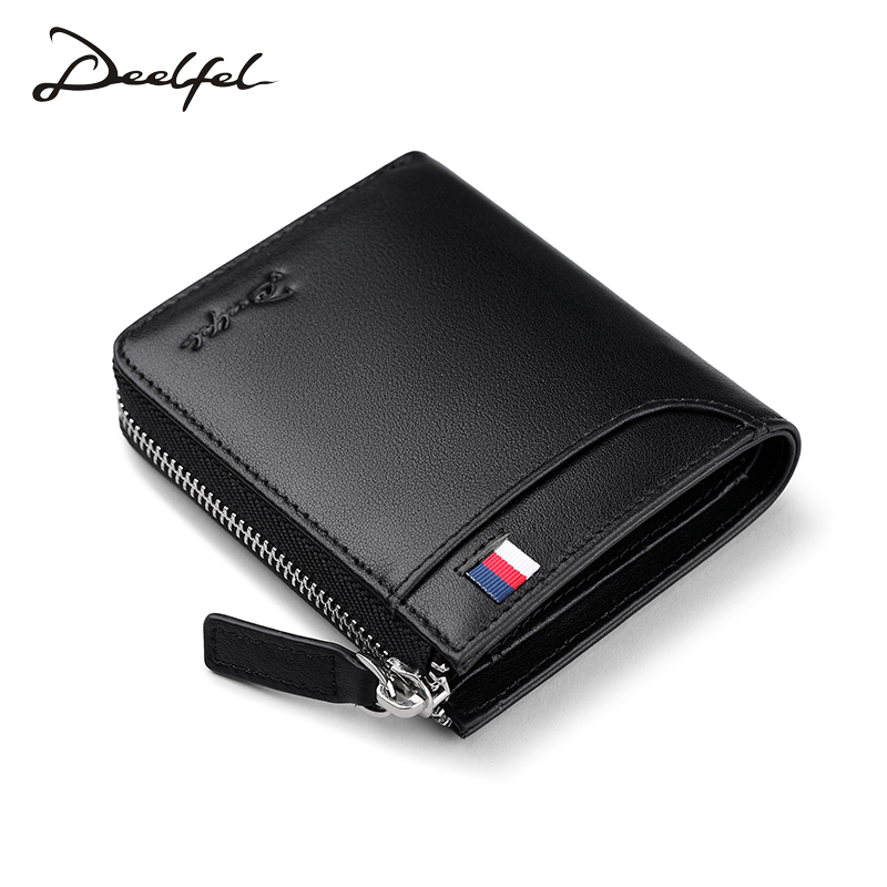 Deelfel New Fashion Small Women Wallets Female Genuine Leather Womens Wallet Zipper Design With Coin Purse Pockets Mini Walet
