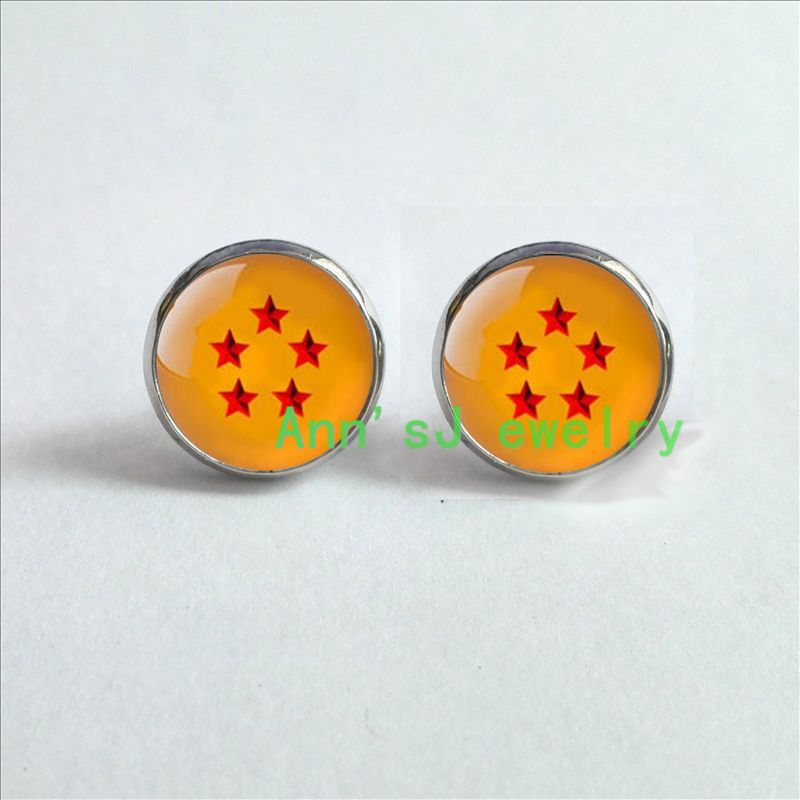 HZ4-0085 1pair Dragon stud earrings Ball z 5 star Dragon eardrops Ball  inspired Earrings jewelry glass Cabochon Earrings