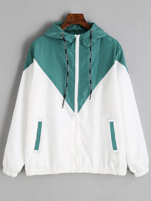 Two Tone Windbreaker Jacket Zipper Pockets Casual Long Sleeves 4