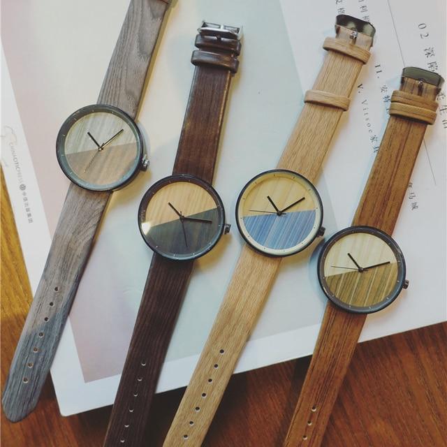 New Stitching Design Wood Grain Watches Simple Retro Female Wristwatch BGG Luxur