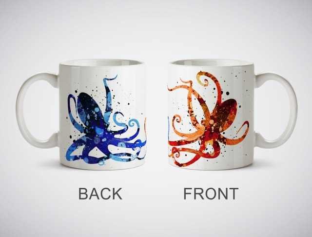 octopus love romantic valentines day mugs kitchen decor ceramic cup home decal owl cups beer milk