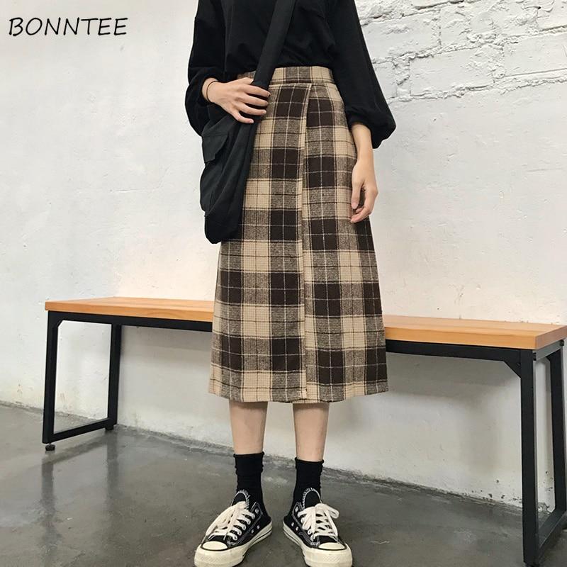 Womens Skirt Trendy Korean-Style Mid-Calf Spring Harajuku Plaid Autumn High-Waist Thick