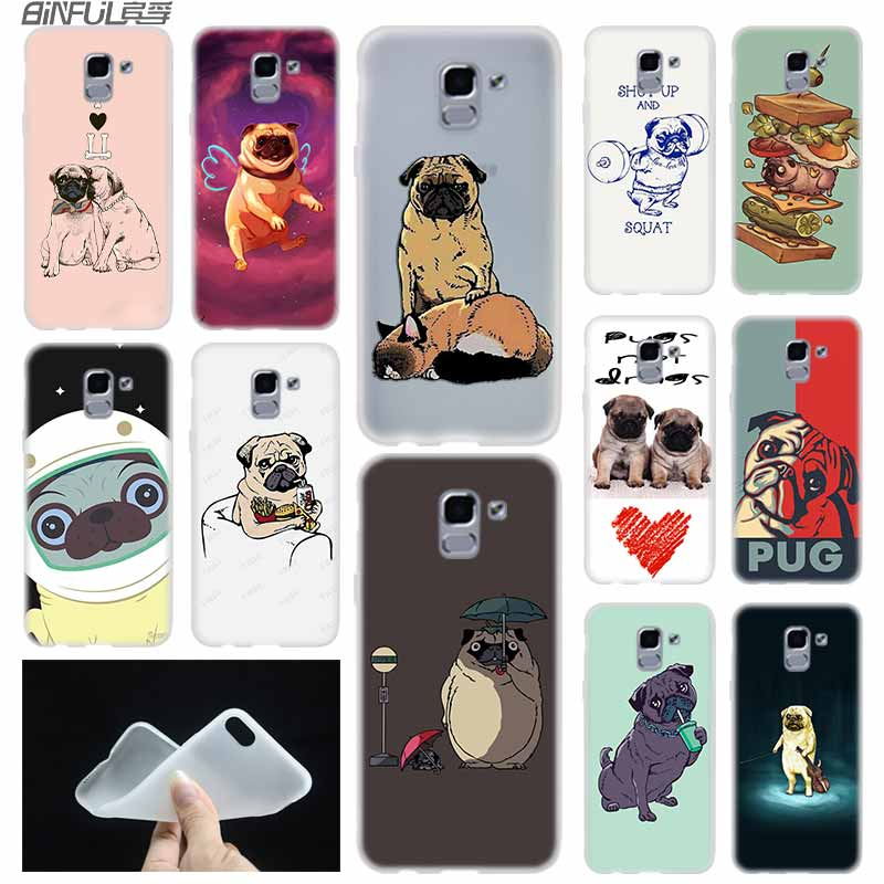Pug <font><b>Dog</b></font> <font><b>case</b></font> Cover TPU Silicone Coque For <font><b>Samsung</b></font> Galaxy J6 J8 J3 J5 <font><b>J7</b></font> J4 J2 J1 Plus 2018 2016 2017 EU Prime Ace image