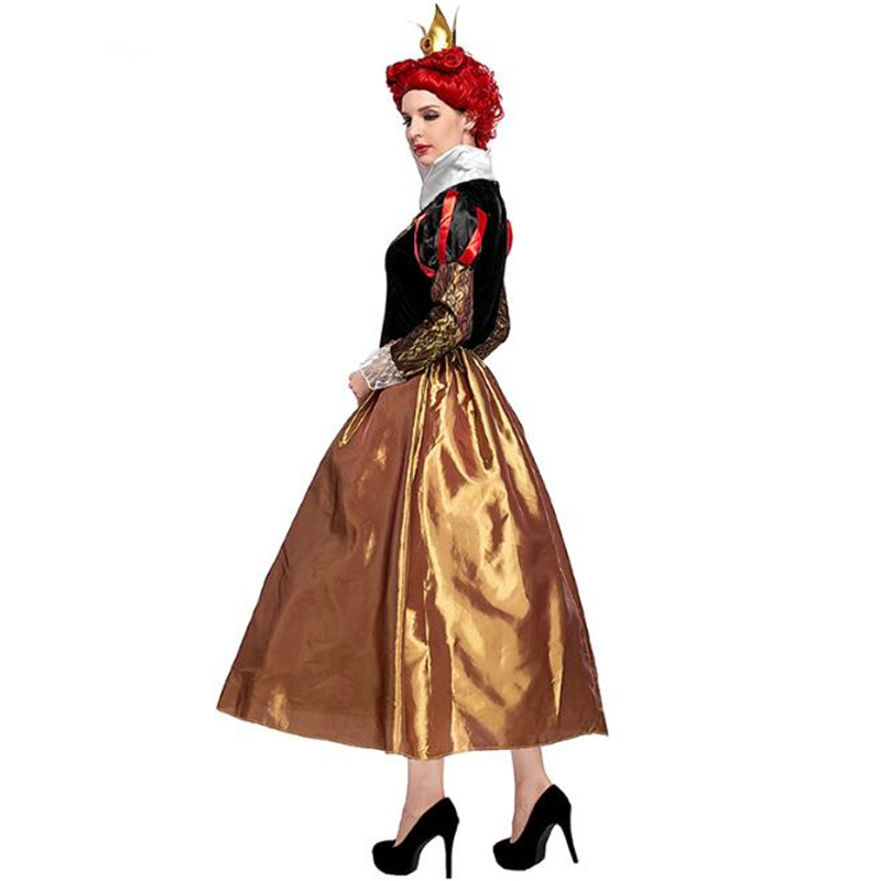 Genuine Deluxe Women Flirty Queen Of Hearts Costume Movie Alice In Wonderland Halloween Adult Cosplay Clothing in Movie TV costumes from Novelty Special Use