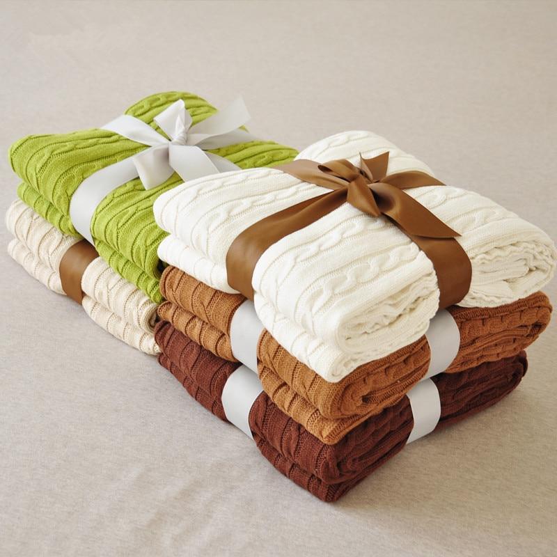 ФОТО Cotton Twisted 100% Blanket Knitted Yarn Sierran Blankets Sofa Casual Blanket