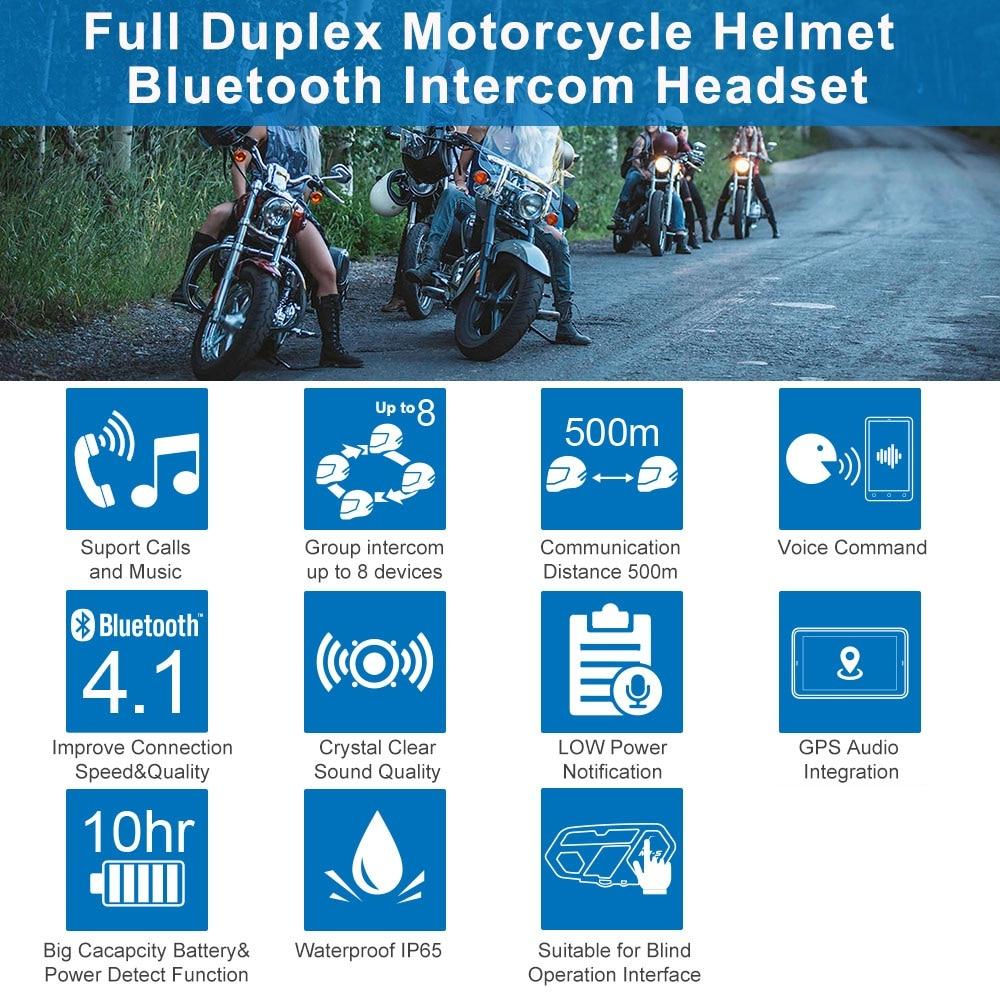 M1-S PRO Interphone 2000M Motorcycle Bluetooth Helmet Intercom Headset 8 Riders