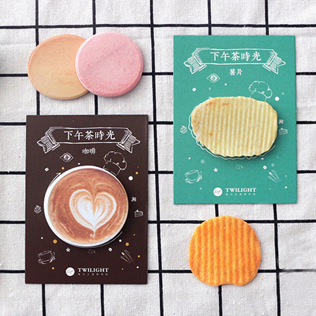 Novelty Sweet Coffee Bread Cake Memo Pads Sticky Notes Message Plan Writing School Office Supply Adhesive Decor Stick Label
