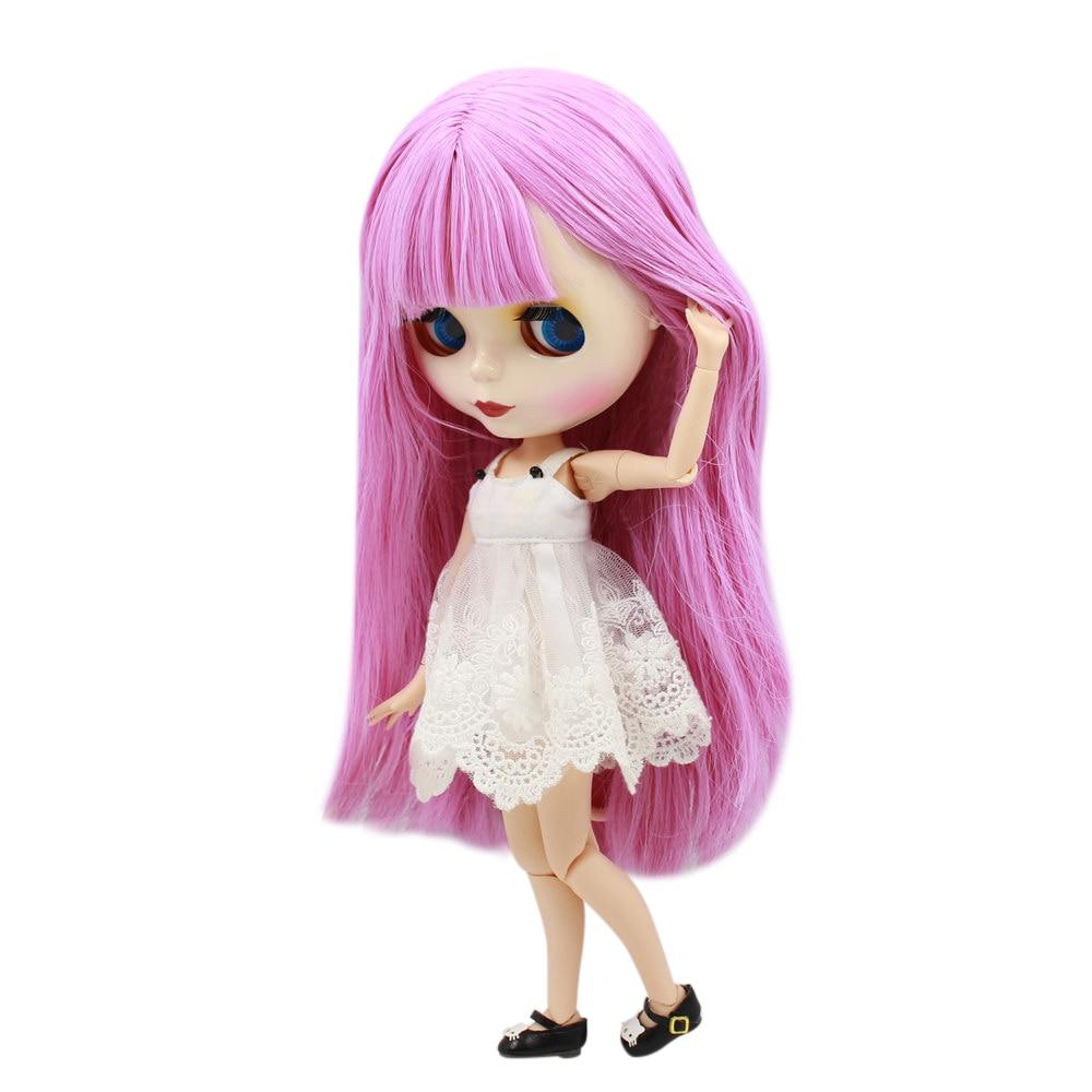factory blyth doll bjd straight pale pink hair tan skin
