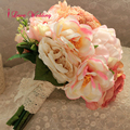 Красивый Розовый Искусственный Свадебные Букеты Ручной Работы Шелковые Цветы Невесты Свадебные Аксессуары букет де mariage Бесплатная Доставка