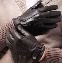 Brown Men's Genuine Lambskin Leather Touch Screen Winter Driving Texting Gloves Cashmere Lining
