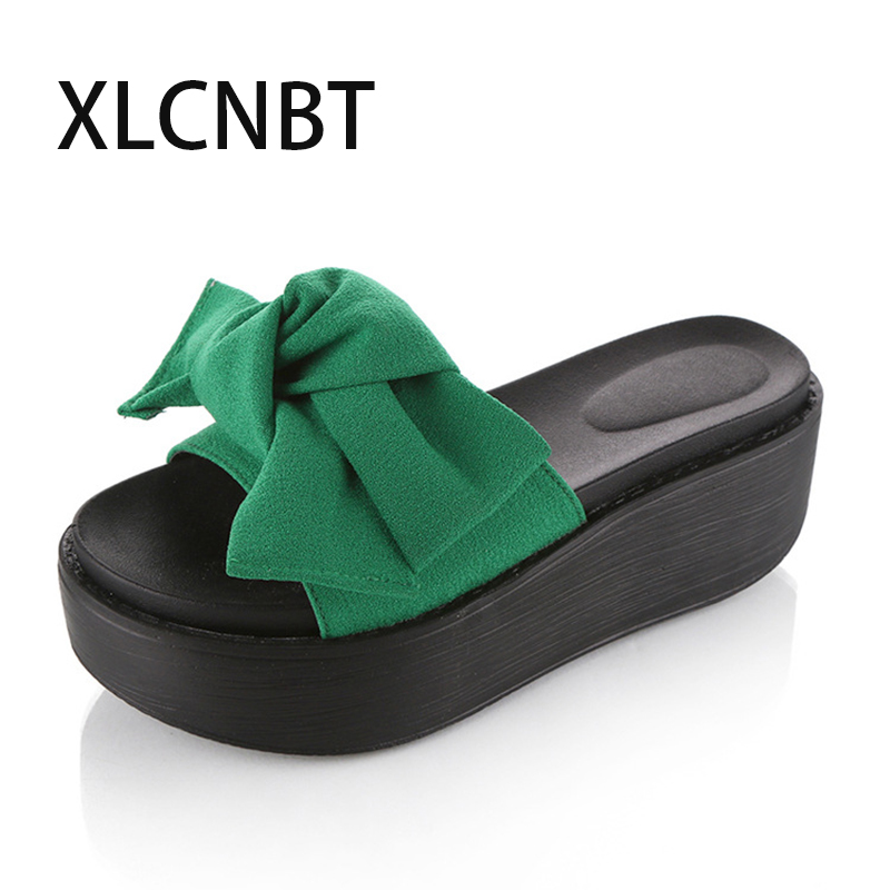hot fashion bowknot slipper paltform high heel slipper summer ladies slides red green shoes lovely sexy sandal outside slides high quantity medicine detection type blood and marrow test slides