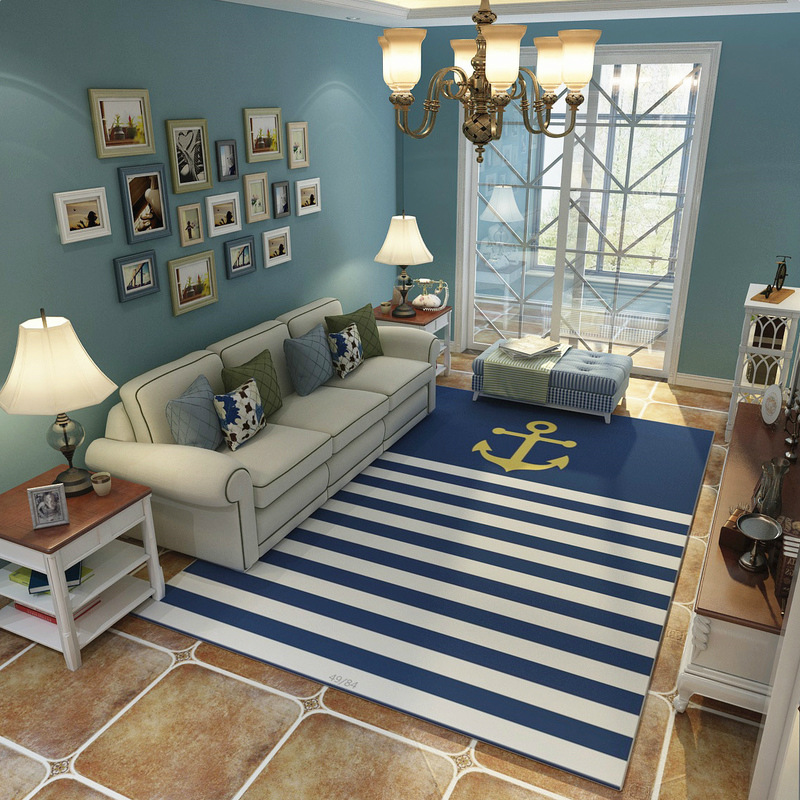 Mediterranean Blue style Carpets Living room coffee table Anchor pattern Printed Rug Modern bedroom Super Soft Flannel Carpet - 2