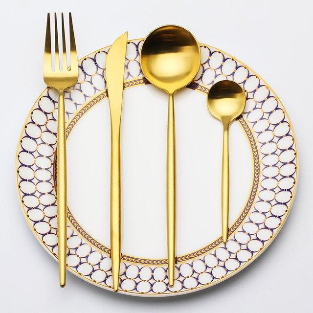 LEKOCH Gold Geschirr Edelstahlreisebesteck Abendessen messer Gabel ...