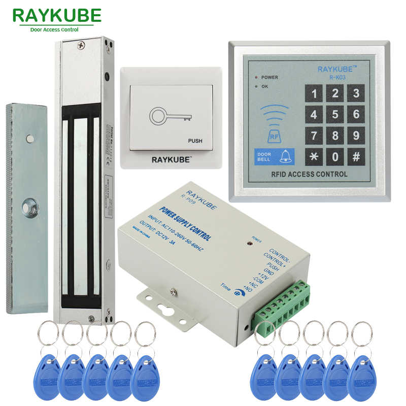 RAYKUBE Access Control Sistem Kit 180 KG/280 KG Listrik Magnetic Lock + Password Keypad Gerbang Pembuka