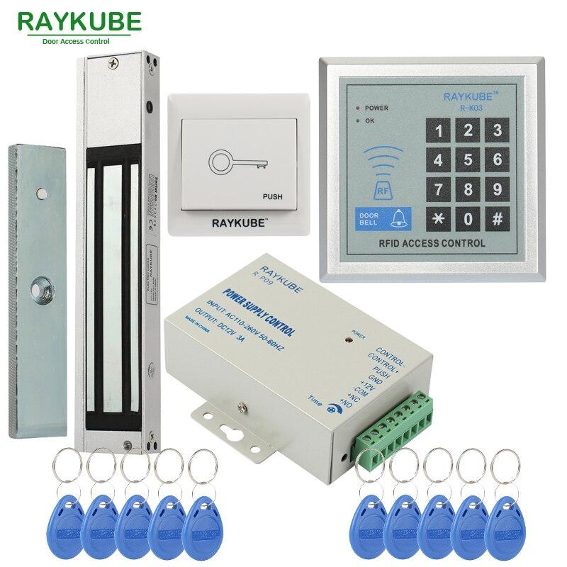 RAYKUBE Contrôle D'accès Système Kit 180 kg/280 kg Serrure Magnétique Électrique + Mot De Passe Clavier Ouvre-porte