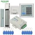 RAYKUBE Kit Sistema de Control de Acceso 180 KG/280 KG Abridor de Puerta Eléctrica de Bloqueo Magnético + Contraseña Del Teclado