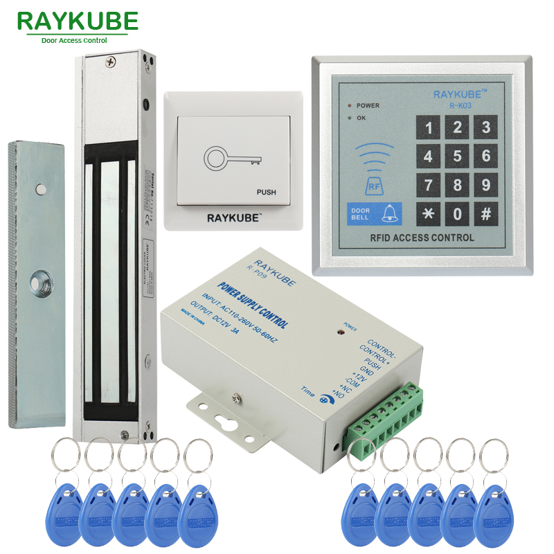 RAYKUBE Access Control System Kit 180KG 280KG Electric Magnetic Lock Password Keypad FRID Reader