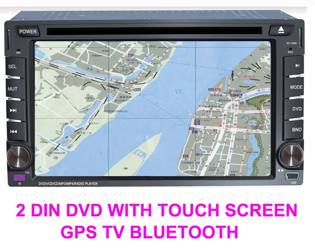 Free shipping Digital touch screen universal Two Din 6.2 inch Car DVD player with GPS Navigation Radio stereo Bluetooth/TV