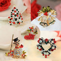 Winter Collection Christmas Brooch Pin Snowman Santa Claus Boot Sleigh Heart Garland Fashion Jewelry Gift