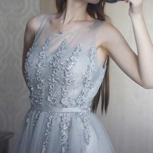Image 5 - Dressv szary v neck plus rozmiar suknia wieczorowa elegancka suknia balowa bez rękawów frezowanie ślubna formalna sukienka na przyjęcie wieczorowe
