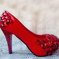 Новый Стиль Хороший Свадебные Туфли Весна Банкетный Партия Насосы Красный Высокой Пятки Rhinestone Свадебная Обувь Невесты Обувь
