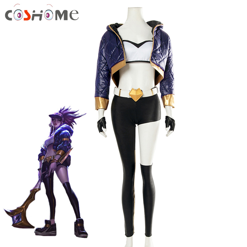 Coshome LOL KDA Akali Cosplay Costume Women Coat Pants Tube Tops Set