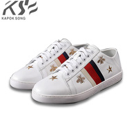 bee embroider sneaker women genuine leather flats luxury brand designer casual shoes new fashion model confortable shoes lady