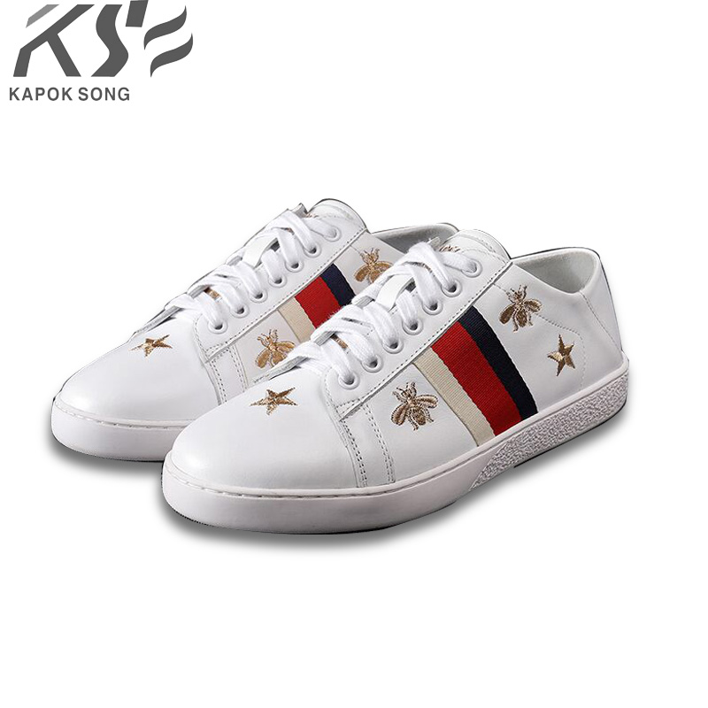 bee embroider sneaker women genuine leather flats luxury brand designer casual shoes new fashion model confortable shoes lady women sneaker cow really leather flats luxury brand designer shoes casual shoes new fashion model confortable shoes lady
