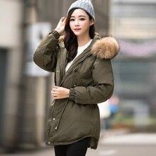 Новый 2016 большой енот меховой воротник зимний пуховик средней длины утолщение армия зеленый вниз куртка женский утка вниз куртка женщин