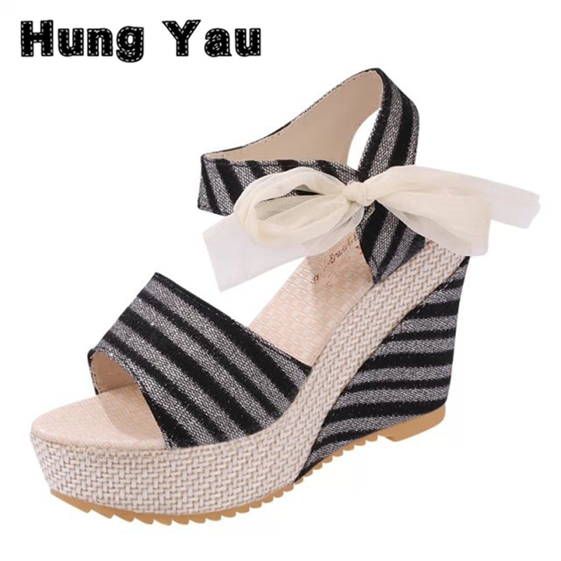 Hung Yau Women Shoes 2017 Summer Style Sandals New Open Peep Toe High Heels Wedge White Sandals Belt Bow Striped Shoes Size 8