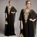Elegant Custom Made Black Luxury Chiffon Arabic Muslim Evening Dress With Bead Rhinestone Dubai Kaftan Women Gown robe de soiree