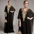 Elegante Custom Made Preto Chiffon Luxo Árabe Kaftan Dubai Muçulmano Vestido de Noite Com Bead Rhinestone Mulheres Vestido de robe de soirée